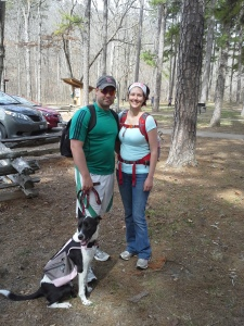 Tony, Mindy, and Billie the hiking dog.