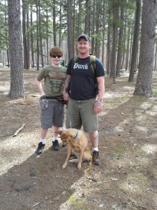 Eli, myself, and Max the hiking dog.