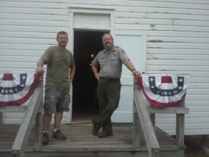 Me, along with one of the coolest people I have the pleasure of knowing, National Park Service Ranger Bill O'Donnell, on the steps of the relocated Storys Creek School.